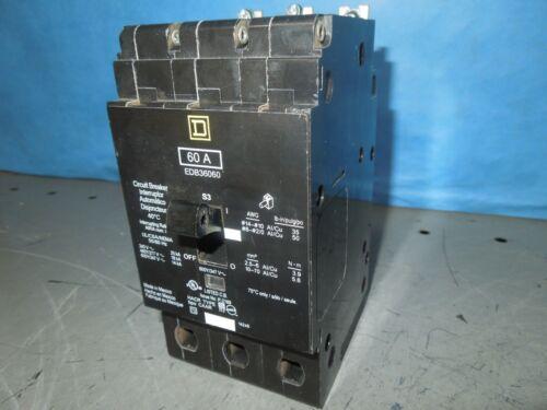 Square D Edb36060 60a 3p 600v 50/60hz Circuit Breaker Used