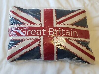 """BNWT Jan Constantine linen cushion with woolen Union Flag and """"Great Britain"""""""