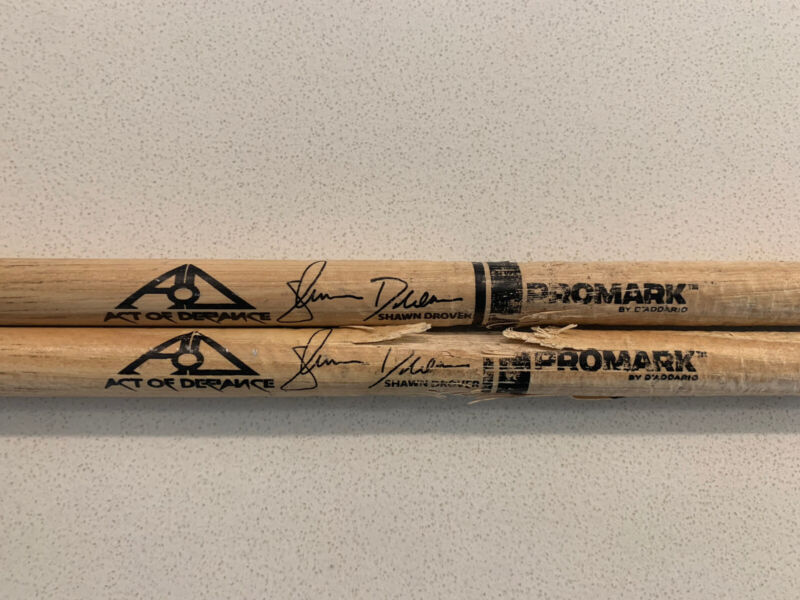 ACT OF DEFIANCE Shawn Drover Tour Issue Signature Pair Stage Played Drum Sticks