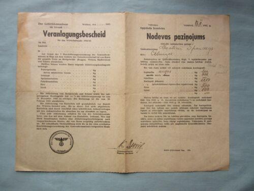 WWII German occupied LATVIA  document -  FEE NOTICE y1942 / Wolmar / Ostland