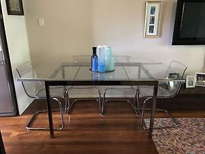 IKEA GLIVARP glass extendable dining table set, 6 x TOBIAS chairs Sherwood Brisbane South West Preview