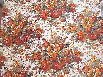 Vintage Orange Pheasants Fruit & Flowers Velvet Upholstery Fabric 2 Yards