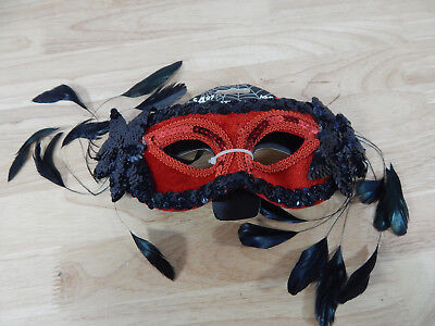Black Sequin Masquerade Masks (Red & Black Masquerade Halloween Eye Mask w/ Sequins & Feathers, Elastic)