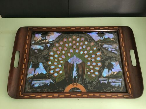 """Antique Butterfly wing Serving Tray large 25""""x15.5"""" Rio de Janeiro"""