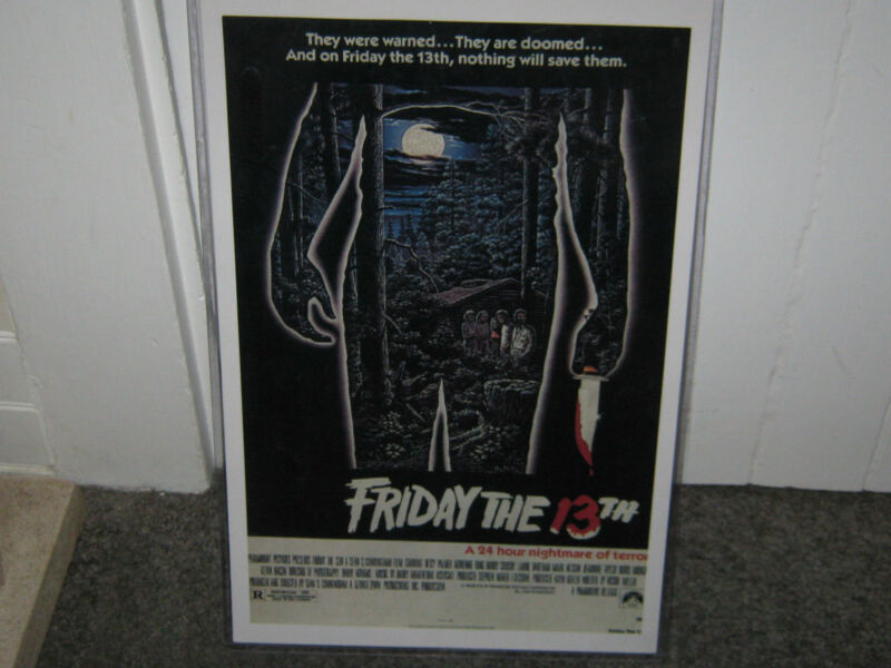 FRIDAY THE 13th  MOVIE POSTER starring ** BETSY PALMER** KEVIN BACON ** new cond