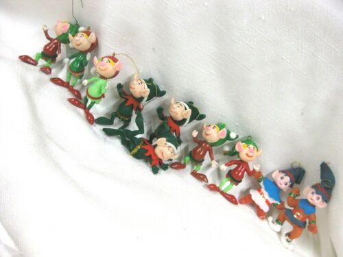 10 Vintage Flocked & Plastic Christmas ELVES Ornaments