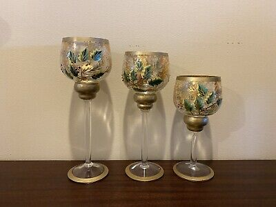 NEW 3 Yankee Candle Gold Holly Crackle Glass Long Stem Votive Holders