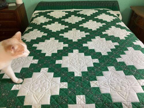 """Quilt handmade greens / white  98"""" x 91 very nice 1989"""