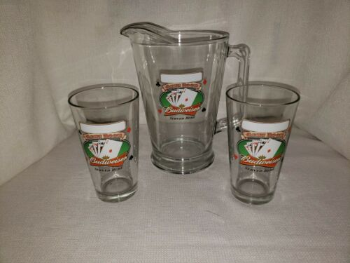 "Budweiser Pitcher Glass ""Game Room"" with 2 Matching Glasses"
