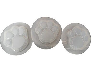 Dog Cat Paw Footprint Plaster or Soap Mold Set of 3  4502 Moldcreations