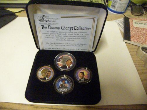 President Obama Change Collection With 4 Colorized US Coins In Cases