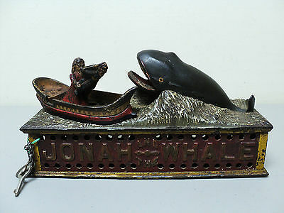 "19th C. ORIGINAL CAST IRON ""JONAH and THE WHALE"" MECHANICAL BANK, c. 1890"