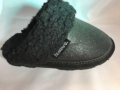 Bearpaw Kids Slippers (Girls Bearpaw Black Glitter Shoes/Slippers  Childs  SIZE 11 SALE)