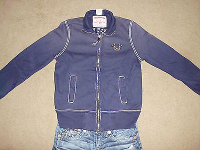 TRUE RELIGION Men's Blue Studded M Logo Thick Stitched Zip Up Track Sweater