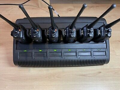 Motorola DP3400 UHF x 6 Two-Way Radios w/Batteries and Impres Multi Charger