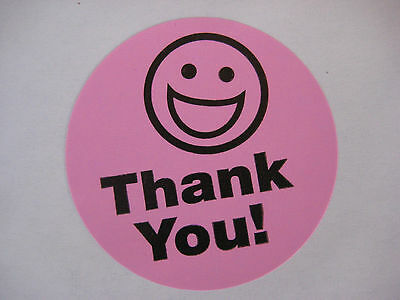 250 BIG THANK YOU SMILEY LABEL STICKERS Pink - Thank You Smiley