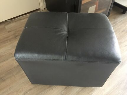 BRAND NEW Genuine Leather Black Ottoman
