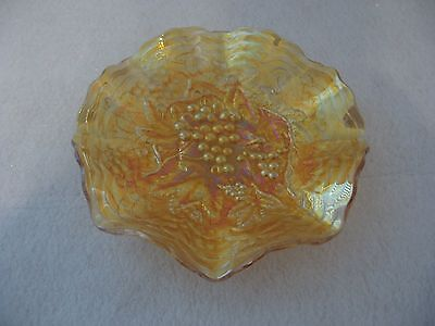 """IMPERIAL CARNIVAL GLASS GRAPE MARIGOLD RUFFLED BOWL 8 3/4"""" INCHES WIDE"""