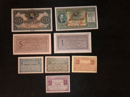 Lithuania set 8  rare banknotes reproduction copy 1922 type 1 with watermarks