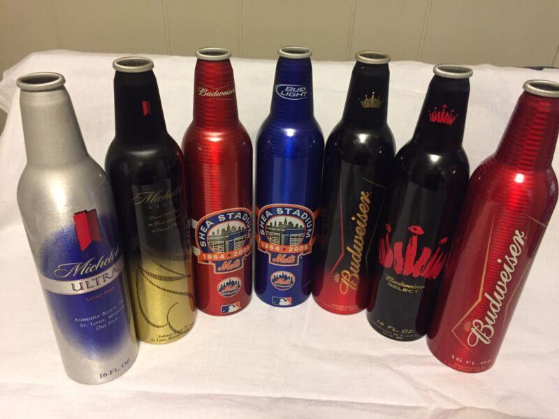 7 Budweiser/Michelob Aluminum Bottles - No caps