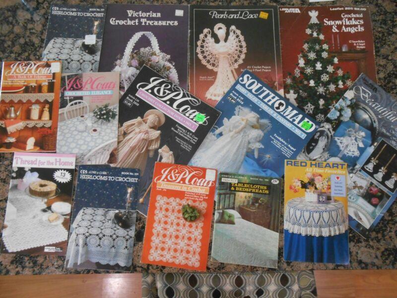 Large Lot of 14 Vintage Thread Crochet Pattern Booklets / Leaflets