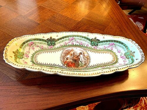 Imperial Crown China Austria Oval Bowl  Hand painted Romantic scene & Gold Trim