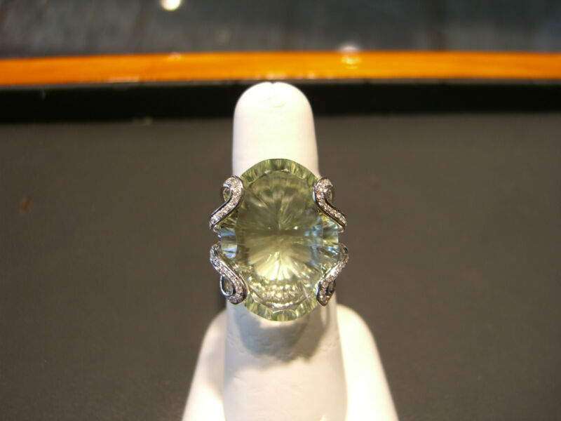 Womens Fine Lime Quartz And Diamond 18 Karat White Gold Ring Size 7 New Wow!!!