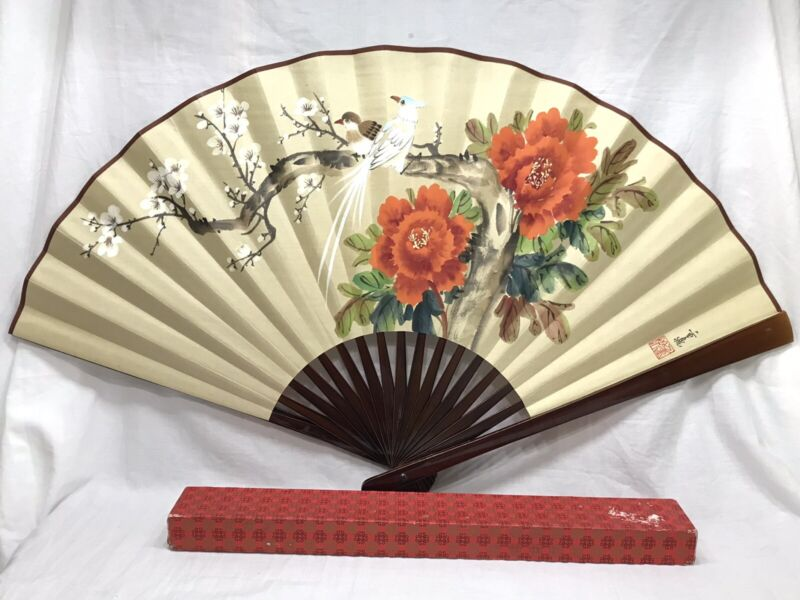 """Oriental Vintage Hand Painted Fan Decorative Wall Hanging Art 20"""" X 36"""" Signed"""