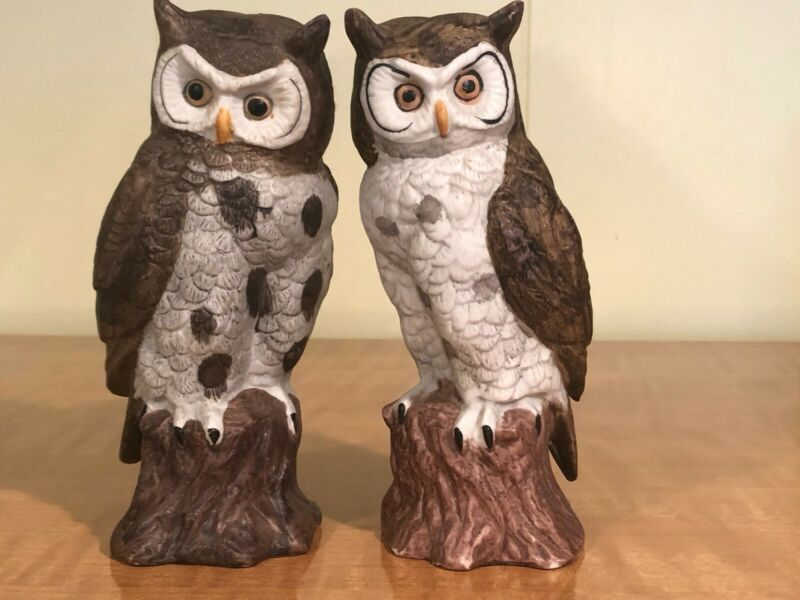 Vintage Ceramic Pair of Owls Collectible Figurines