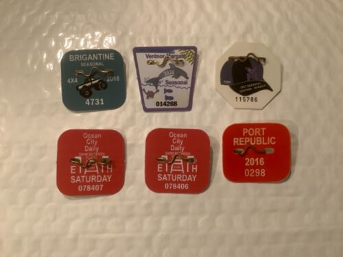 6 Collectible New Jersey Beach 4 x 4/Beach Tags/Badges 2016, 2017, 2018 & 2020