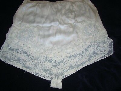 Vintage 1940s Panties Lingerie TAP Bloomers Ivory Satin w/ ECRU Chantilly LACE