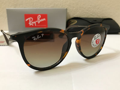 RAY-BAN Sunglasses Erika Polarized Matte Tortoise Frame W/Brown Gradient -