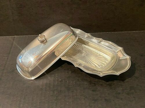 Chippendale Silverplate Covered Buttered Dish with Glass Insert