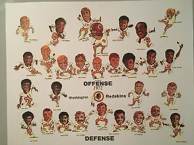 1972 Poster NFC Champion Washington Redskins cartoon caricature. Great Gift Idea (Football Poster Ideas)