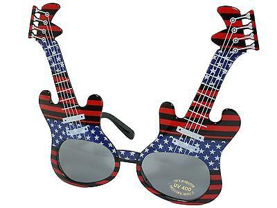 Electric Guitar Frame Rock Star Novelty Sunglasses Party Glasses Patriotic - Guitar Sunglasses