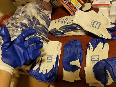 32 Pairs, String Knit Better Grip Premium Blue Latex Dipped Work Gloves. 1 Size.
