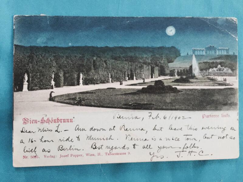Wein Schonbrunn Parterre undivided card 1901 Vintage Fountain Gardens OLD