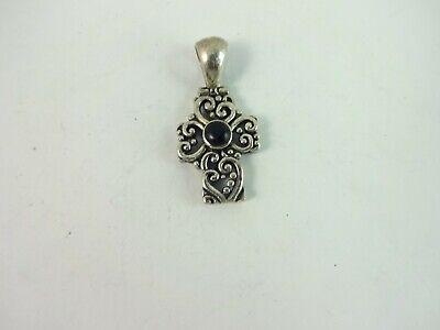 Sterling Silver Nice Filigree Heart Cross Signed SE Pendant    6.6 Gram