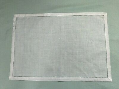12 White Ivory Linen Cloth Hemstitch Table Placemats 12x18 Inch Wedding Party