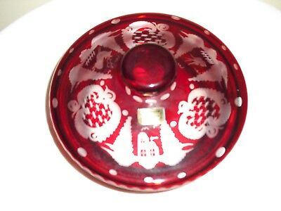 VINTAGE Czech Egermann Ruby Cut to Clear Stag Castle Bird Engraved Covered Bowl