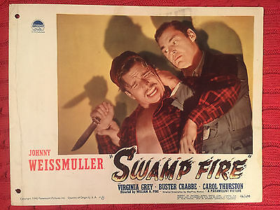 Swamp Fire 1946 Paramount crime lobby card Johnny Weismuller Buster Crabbe