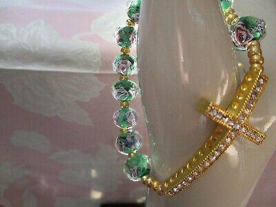 Single Decade Bracelet Green Flower Faceted Lampwork Glass + Gold Tone Cross