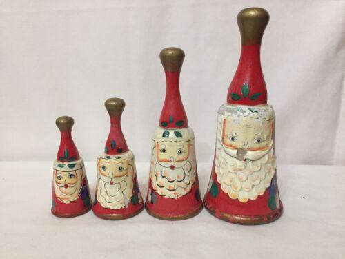 Vintage Wooden Santa Bells