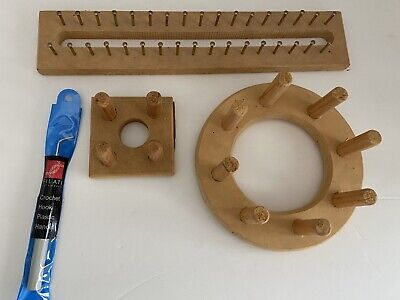 Set of 3 Wooden Board Knitting Looms + hook + Surprise Gift