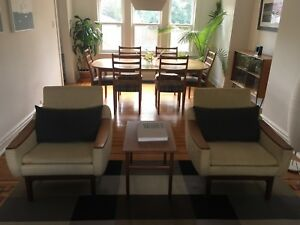 Mid century modern teak sofa and chairs