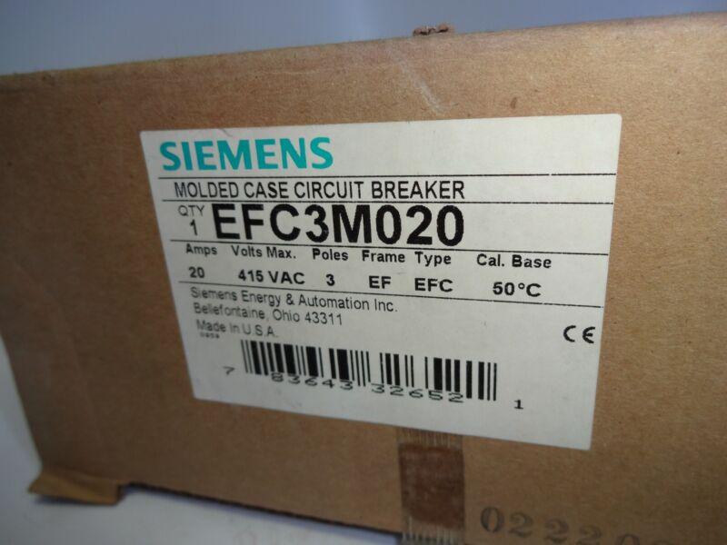 SIEMENS EFC3M020 3 POLE 20 AMP CIRCUIT BREAKER 415 VAC
