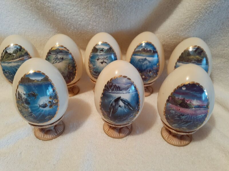 SET OF 8 DANBURY MINT SPLENDORS OF THE SEA PORCELAIN EGGS ON STANDS