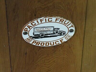 """Vintage Pacific Fruit and Produce Co. Door Push Sign 3 1/2"""" x 5"""""""