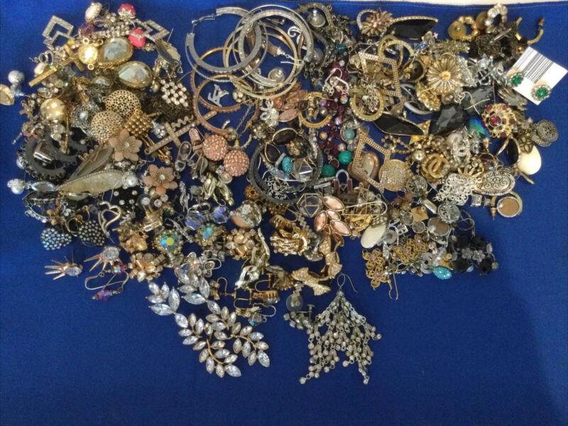 Large  Estate Lot Of Rhinestone & Crystal Fashion Earring Pierced & Clipback