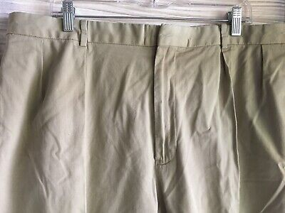 Polo 100% cotton khaki twill double pleat pants w cuffs 40/30 w 13 inch rise Twill Double Pleat Pants
